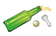 Beer and Bottle Opener Vector Illustration