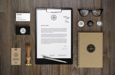Brown and Black Branding & Identity MockUp PSD