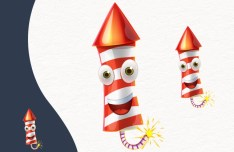 Cartoon Fireworks PSD