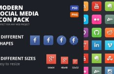 Modern Social Media Icons PSD