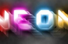3D Neon Light Text Effect PSD