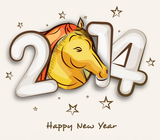Creative 2014 Year Of Horse Text Effect Vector