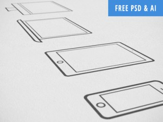 Outlined Apple Devices Icons PSD & Vector