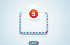 Mail Icon with Unread Messages PSD