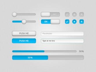 Light Blue UI Components PSD