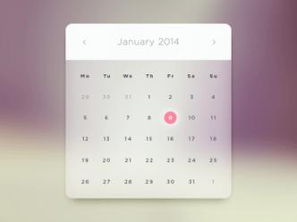 Glass Calendar Widget PSD