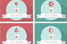 Set Of Flat Valentine Cards Vector
