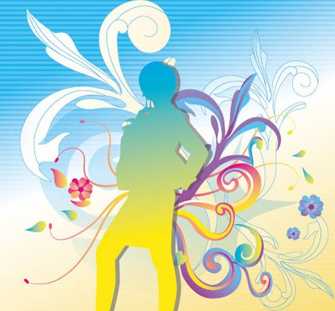 Dancing Girl Silhouette with Floral Background Vector 01