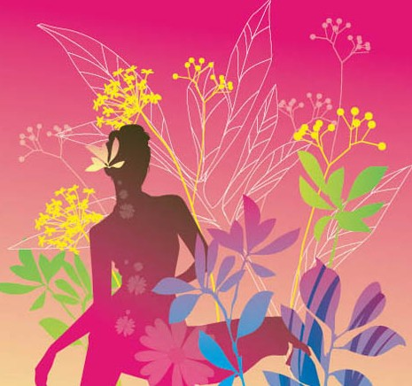 Dancing Girl Silhouette with Floral Background Vector 05