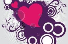 Red Love Hear with Splash Flower Background Vector 03