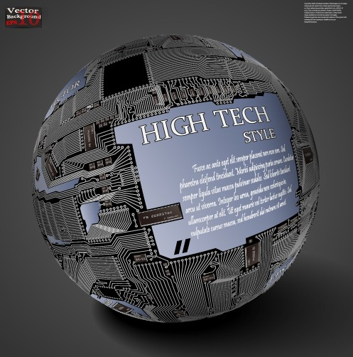 HI-Tech Style Globe Of Integrated Circuits Vector 01