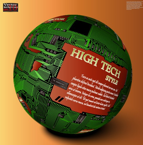 HI-Tech Style Globe Of Integrated Circuits Vector 02