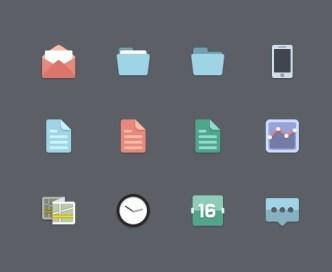 12 Tiny Flat Icons PSD