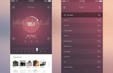 FM Radio App UI For iOS 7 PSD