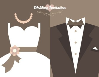 Romantic Wedding Invitation Design Vector