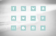 12 Light Blue Fabric Social Media Icons