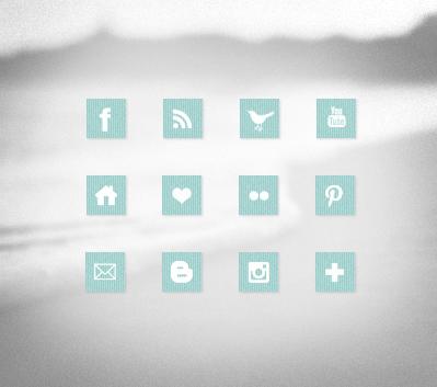 12 Light Blue Fabric Social Media Icons