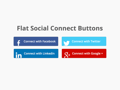 4 Flat Social Connect Buttons