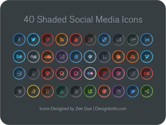 40 Round Shaded Social Media Icons