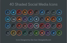 40 Round Shaded Social Media Icons