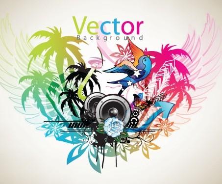 Music Art Grunge Background Vector 04