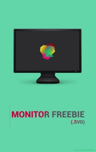Black Monitor Template SVG