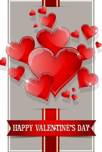 Happy Valentine's Day Glossy Red Heart Design Vector 01