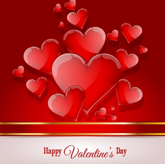 Happy Valentine's Day Glossy Red Heart Design Vector 04
