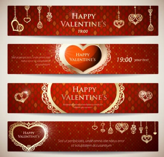 4 Red Valentine's Day Banners with Love Heart Backgrounds Vector