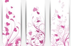 3 Vertical Love Floral Banners Vector