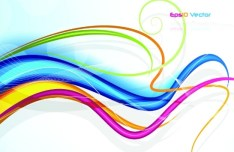 Colorful Abstract Curved Lines Background Vector 02