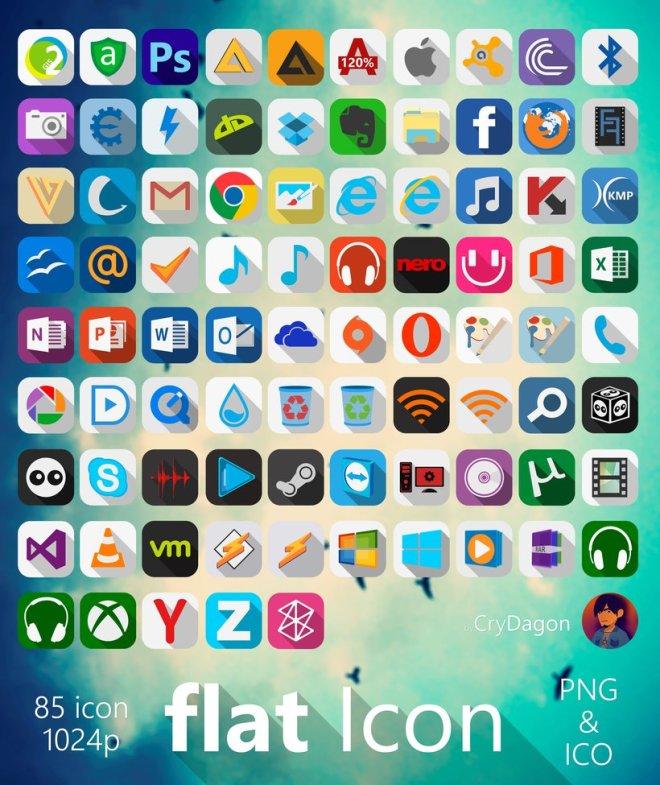 85 Flat Long Shadow App & Social Icons