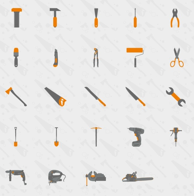 Usefull Tools Flat Icon Set