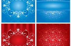 4 Red and Blue Floral Swirls Backgrounds Vector