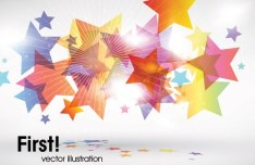 Shiny Colorful Stars Vector Background