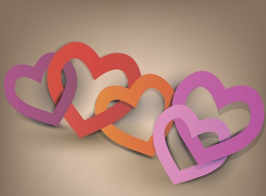 Vector Linked Lover Hearts Background