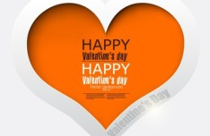 White and Orange Paper Love Heart Vector