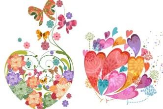 Vintage Colorful Flower Hearts Vector