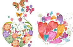 Vintage Colorful Flower Hearts Vector