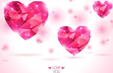 Pink Polygon Love Hearts Background Vector
