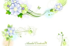 Set of Green Flower & Vine Frames Vector