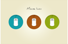 Round Mouse Flat Icons PSD