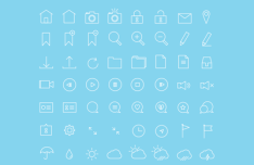56 Thin Line Stroke Icons Vector