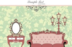 Vector Furniture Illustration with Vintage Floral Background 01