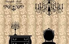 Vector Furniture Illustration with Vintage Floral Background 04