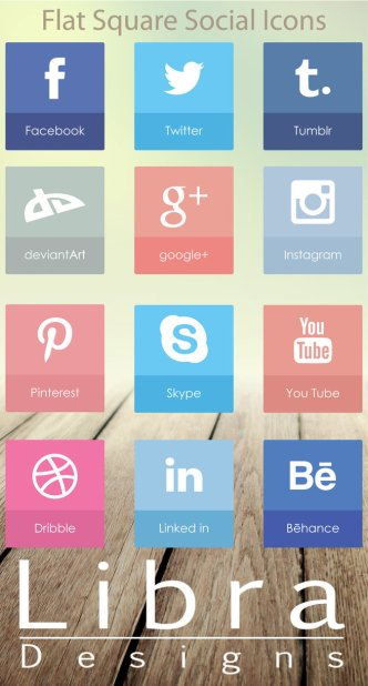 Flat Square Social Icons Pack Vector