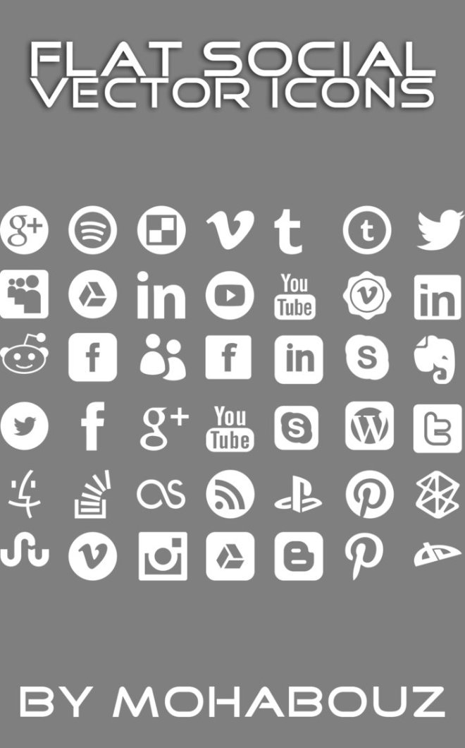 Set Of Minimal Flat Social Icons Vector