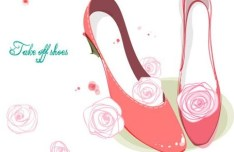 Hand Drawn Pink High Heels with Flowers Vector Illustration