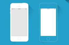 Flat Long Shadow iPhone 5S Mockups PSD