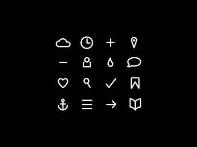 16 Simple Bold Icons PSD